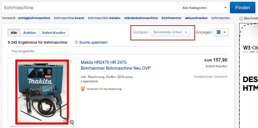 Suchmaschinenoptimierung für eBay - Die beliebtesten Artikel bei der Suche nach einer Bohrmaschine
